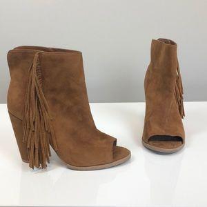 Dolce Vita Camel Peep Toe Fringe Ankle Booties